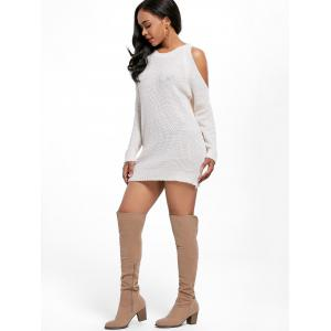 Open Shoulder Tunic Sweater Dress - OFF-WHITE ONE SIZE