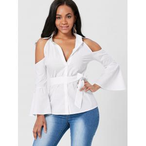 Tie Front Bell Sleeve Cold Shoulder Blouse - WHITE XL