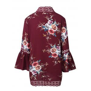 Hollow Out Lace Insert Flare Sleeve Kimono - RED S