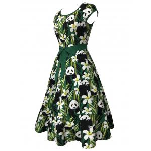 Bamboo and Panda Print Vintage Dress -
