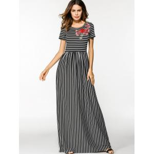 Floral Embroidered Patched Stripes Maxi Dress -