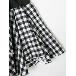 Cold Shoulder Checked Ruffles Blouse -
