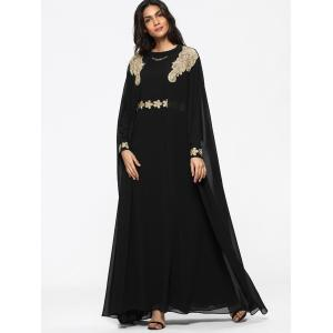 Cape Embroidered Long Sleeve Maxi Dress -