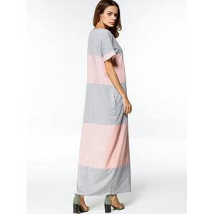 Two Tone Casual Maxi Tee Dress - PINK AND GREY M