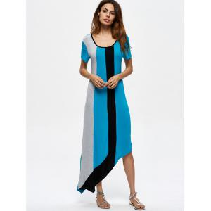 Contrasting Casual Asymmetrical Maxi Dress -