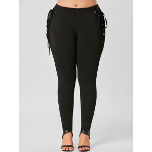 Plus Size Lace Up Skinny Pants -