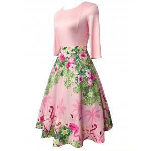 Floral and Flamingo Print Vintage Dress -