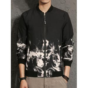 Flame Print Zip Up Bomber Jacket -