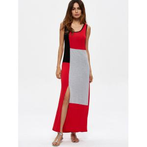 Contrasting Sleeveless Slit Maxi Dress -