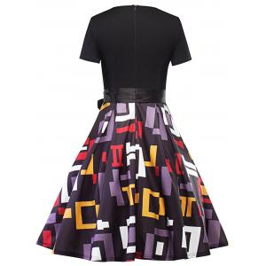 Vintage Geometric Fit and Flare Dress -