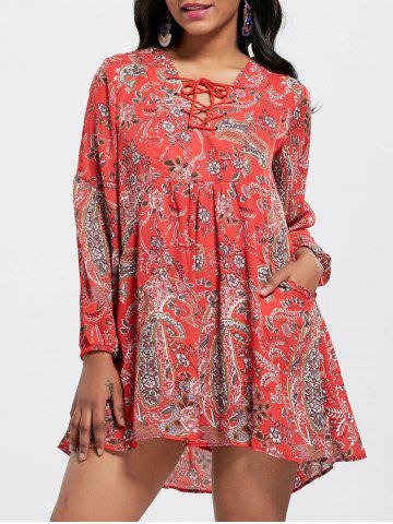 Chic Lace Up Floral Print Dress RED S