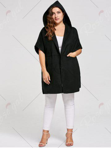 Outfit Plus Size Woolen Blend Hooded Poncho Coat - 3XL BLACK Mobile
