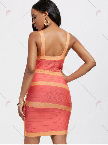 New Bodycon V Neck Two Tone Bandage Dress - S BURNT ORANGE Mobile