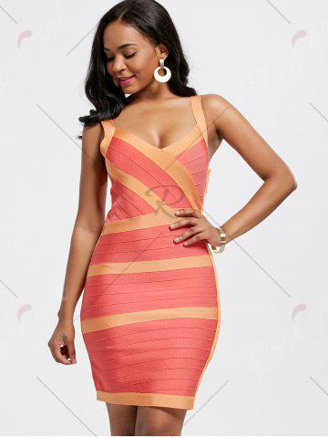 Outfits Bodycon V Neck Two Tone Bandage Dress - L BURNT ORANGE Mobile
