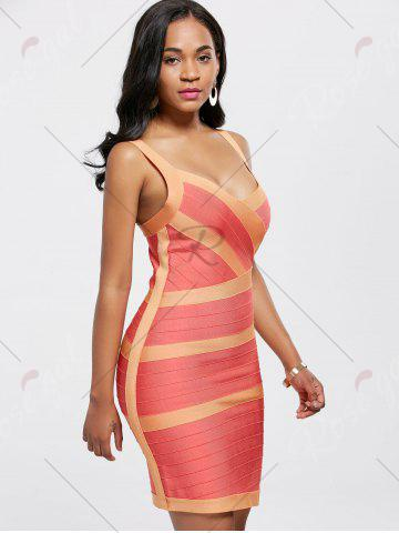 New Bodycon V Neck Two Tone Bandage Dress - L BURNT ORANGE Mobile