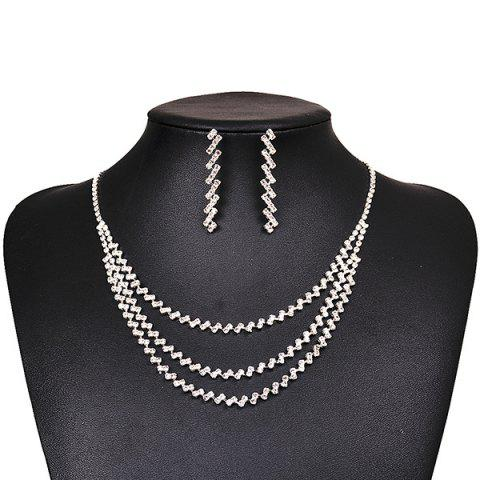 Fashion Layered Rhinestone Necklace and Earrings - SILVER  Mobile