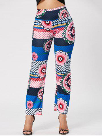 Fancy Ethnic Style Mid-Waisted Geometric Print Loose-Fitting Exumas Pants For Women - S AS THE PICTURE Mobile