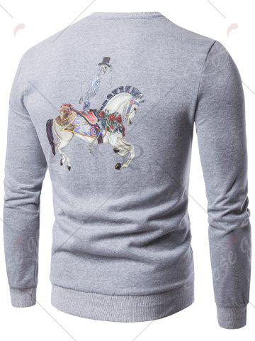 Outfits Skull Chief Print Crew Neck Fleece Sweatshirt - M LIGHT GRAY Mobile