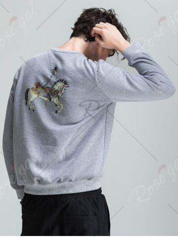 Outfit Skull Chief Print Crew Neck Fleece Sweatshirt - M LIGHT GRAY Mobile