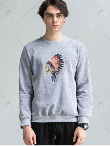 Cheap Skull Chief Print Crew Neck Fleece Sweatshirt - M LIGHT GRAY Mobile