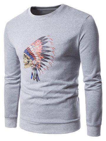 Discount Skull Chief Print Crew Neck Fleece Sweatshirt - M LIGHT GRAY Mobile