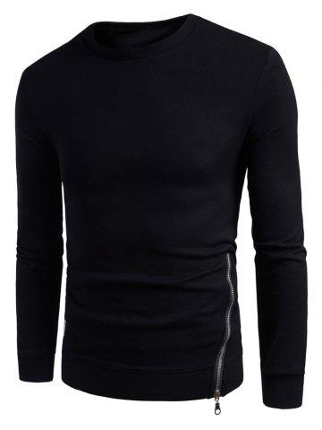 Cheap Long Sleeve Side Zip Applique Sweatshirt - 3XL BLACK Mobile