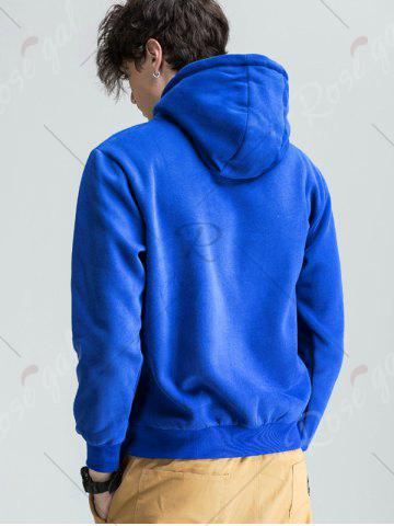 Cheap Graphic Print Fleece Pouch Pocket Hoodie - M BLUE Mobile