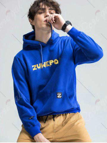 Best Graphic Print Fleece Pouch Pocket Hoodie - M BLUE Mobile