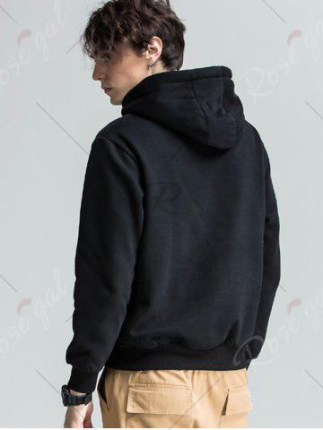 Online Graphic Print Fleece Pouch Pocket Hoodie - 3XL BLACK Mobile