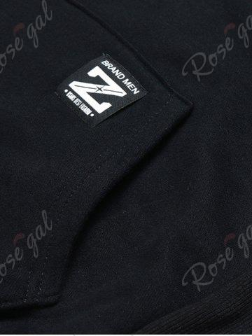 Buy Graphic Print Fleece Pouch Pocket Hoodie - 3XL BLACK Mobile