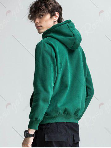 Affordable Graphic Print Fleece Pouch Pocket Hoodie - 3XL GREEN Mobile