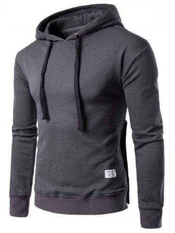 Store Side Button Slit Drawstring Hoodie - M DEEP GRAY Mobile