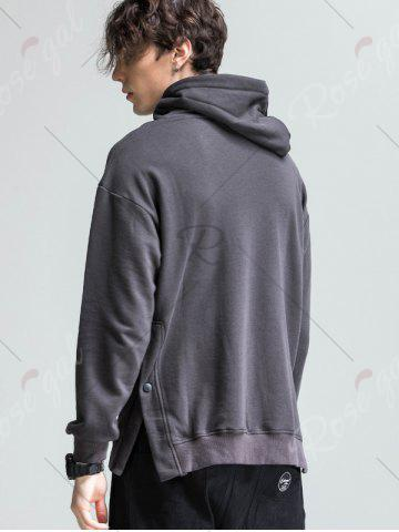 Latest Side Button Slit Drawstring Hoodie - M DEEP GRAY Mobile