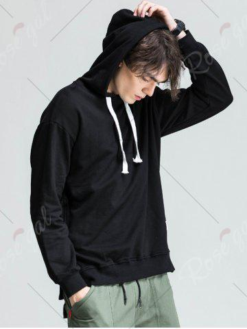 Shops Side Button Slit Drawstring Hoodie - 3XL BLACK Mobile