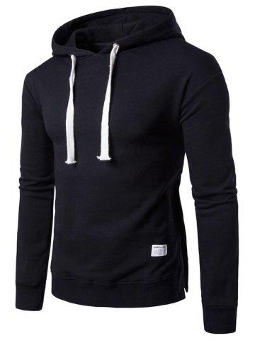 Discount Side Button Slit Drawstring Hoodie - 3XL BLACK Mobile