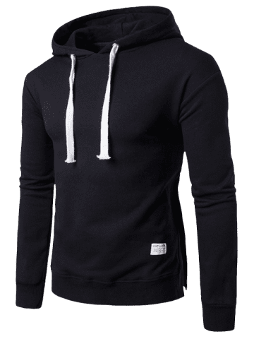 Unique Side Button Slit Drawstring Hoodie - 3XL BLACK Mobile