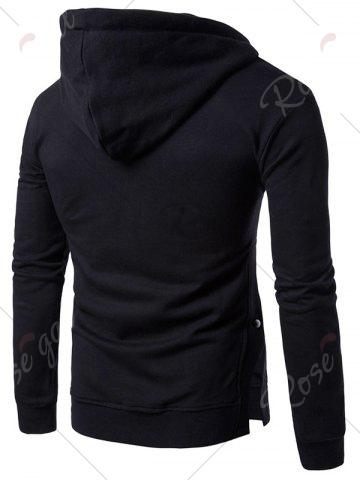 Affordable Side Button Slit Drawstring Hoodie - 3XL BLACK Mobile