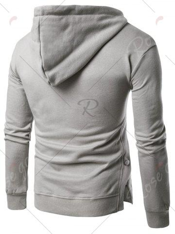 Store Side Button Slit Drawstring Hoodie - M LIGHT GRAY Mobile