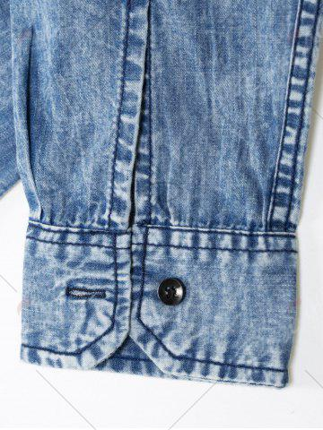 Outfit Pocket Bleached Effect Chambray Shirt - M DENIM BLUE Mobile