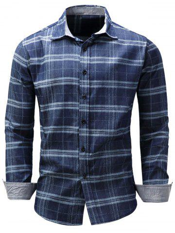 Trendy Long Sleeve Tartan Chambray Shirt BLUE M