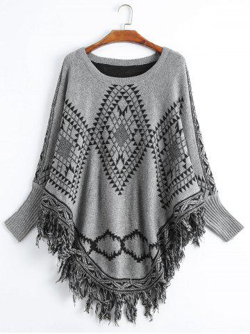 Store Geometric Fringed Plus Size Poncho Sweater