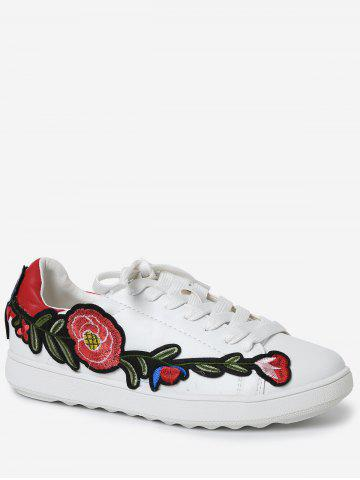 Latest Embroidery Round Toe Faux Leather Sneakers