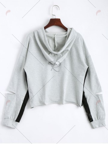 Chic Color Block Drop Shoulder Crop Hoodie - S LIGHT GRAY Mobile