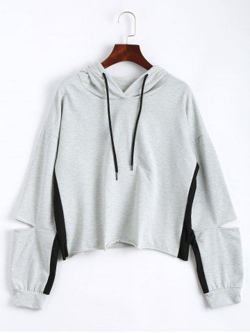 Chic Color Block Drop Shoulder Crop Hoodie - M LIGHT GRAY Mobile