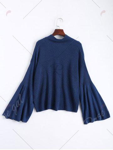 Cheap Drop Shoulder Flare Sleeve High Neck Sweater - ONE SIZE CERULEAN Mobile