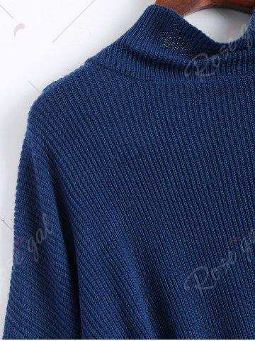 Chic Drop Shoulder Flare Sleeve High Neck Sweater - ONE SIZE CERULEAN Mobile