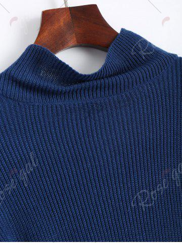 Outfit Drop Shoulder Flare Sleeve High Neck Sweater - ONE SIZE CERULEAN Mobile