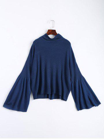 Store Drop Shoulder Flare Sleeve High Neck Sweater - ONE SIZE CERULEAN Mobile