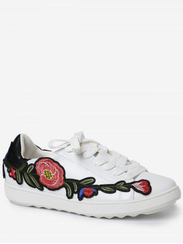 Online Embroidery Round Toe Faux Leather Sneakers - 38 BLACK Mobile