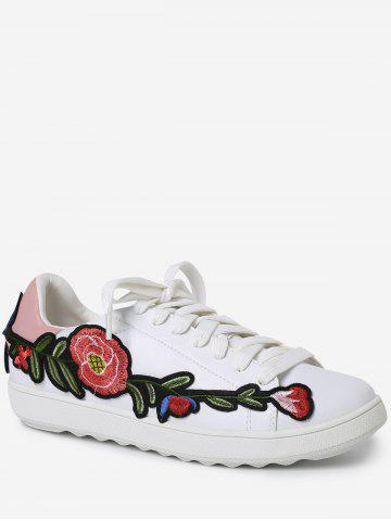 Discount Embroidery Round Toe Faux Leather Sneakers - 37 PINK Mobile
